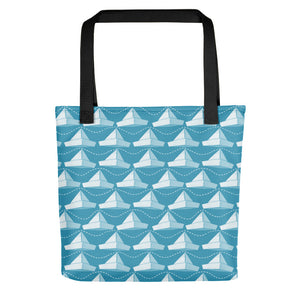 Newspaper Hats Pattern | Blue | Tote Bag-tote bags-Black-Eggenland
