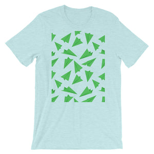 Paper Planes Pattern | Green | Short-Sleeve Unisex T-Shirt-t-shirts-Heather Prism Ice Blue-M-Eggenland
