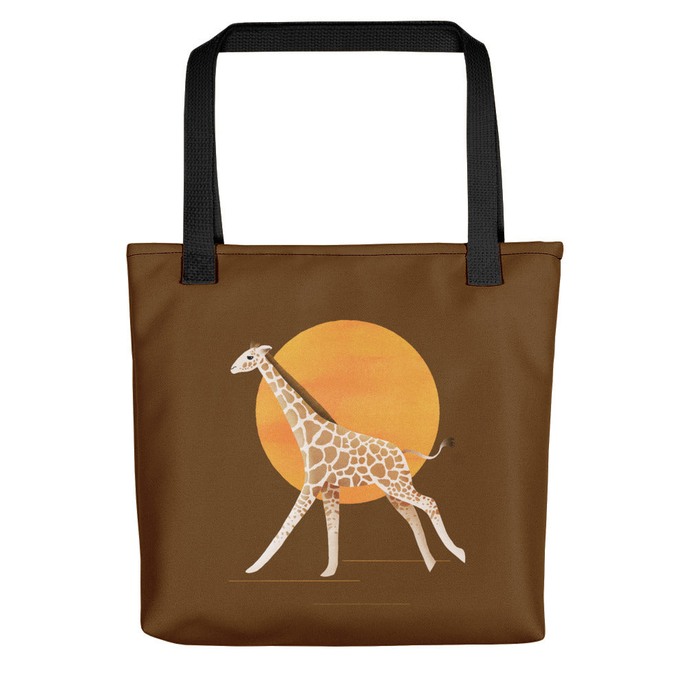 Giraffe and Sun | Brown | Tote Bag-tote bags-Black-Eggenland
