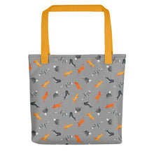 Load image into Gallery viewer, Funky Cats Pattern | Dark Grey | Tote Bag-tote bags-Yellow-Eggenland