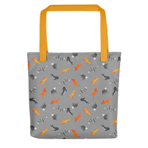 Funky Cats Pattern | Dark Grey | Tote Bag-tote bags-Yellow-Eggenland