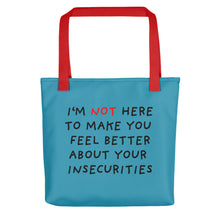 Load image into Gallery viewer, Insecurities | Blue | Tote Bag-tote bags-Red-Eggenland