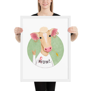 Wow Cow | Illustration | Framed Poster-framed posters-White-18×24-Eggenland