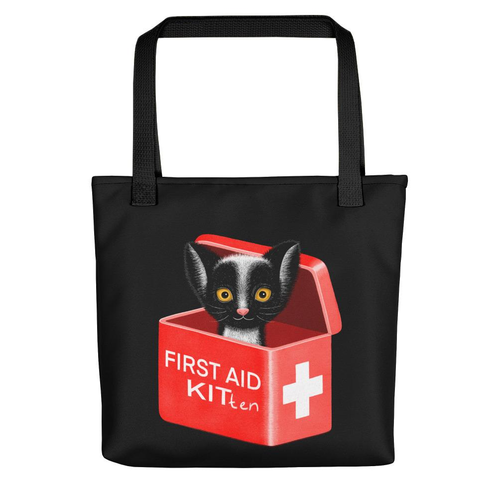 First Aid Kitten | Black | Tote Bag-tote bags-Black-Eggenland