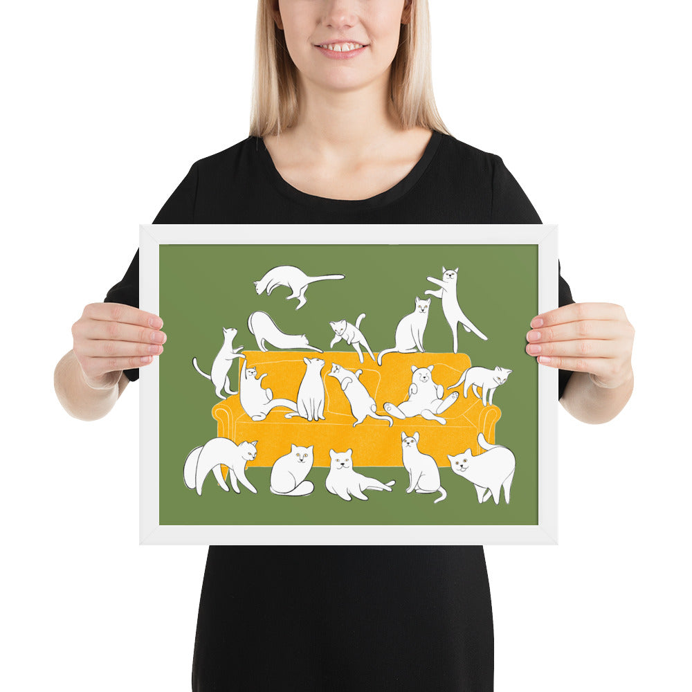 Cats Party | Illustration | Green | Framed Poster-framed posters-White-12×16-Eggenland