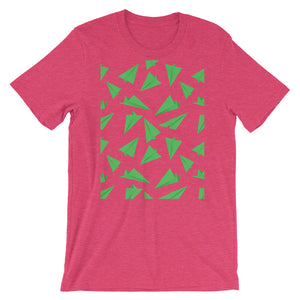 Paper Planes Pattern | Green | Short-Sleeve Unisex T-Shirt-t-shirts-Heather Raspberry-M-Eggenland