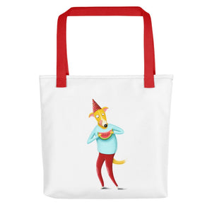 Dog with Watermelon | White | Tote Bag-tote bags-Red-Eggenland