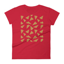 Load image into Gallery viewer, Paper Planes Pattern | Golden | Women's Short-Sleeve T-Shirt-t-shirts-Red-S-Eggenland