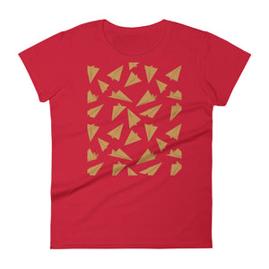 Paper Planes Pattern | Golden | Women's Short-Sleeve T-Shirt-t-shirts-Red-S-Eggenland