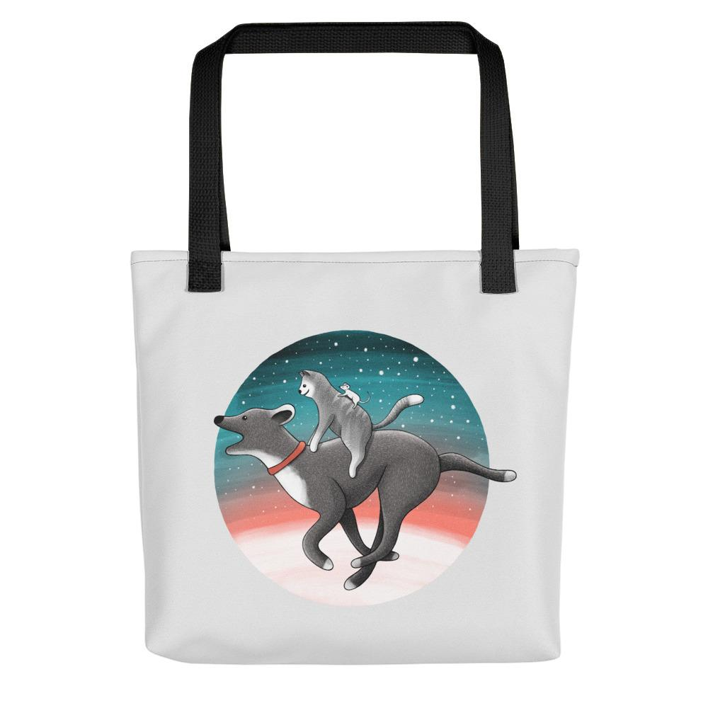Together We Are Faster | Dog, Cat and Mouse | Light Grey | Tote Bag-tote bags-Black-Eggenland