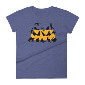 Black Cats Party | Women's Short-Sleeve T-Shirt-t-shirts-Heather Blue-S-Eggenland