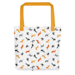 Funky Cats Pattern | White | Tote Bag-tote bags-Yellow-Eggenland