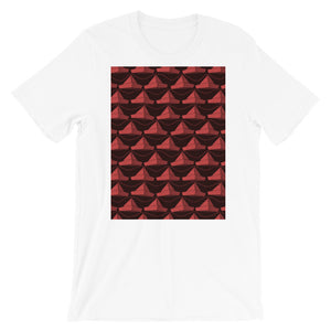 Paper Hats Pattern | Dark Red | Short-Sleeve Unisex T-Shirt-t-shirts-White-S-Eggenland