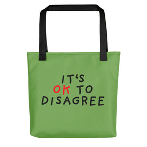 It's OK to Disagree | Green | Tote Bag-tote bags-Black-Eggenland