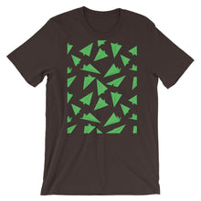 Load image into Gallery viewer, Paper Planes Pattern | Green | Short-Sleeve Unisex T-Shirt-t-shirts-Brown-M-Eggenland