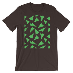 Paper Planes Pattern | Green | Short-Sleeve Unisex T-Shirt-t-shirts-Brown-M-Eggenland
