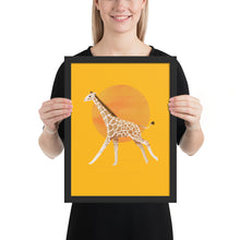 Load image into Gallery viewer, Giraffe and Sun | Illustration | Yellow | Framed Poster-framed posters-Black-12×16-Eggenland