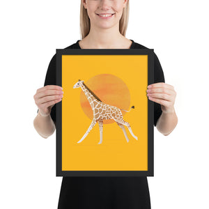 Giraffe and Sun | Illustration | Yellow | Framed Poster-framed posters-Black-12×16-Eggenland