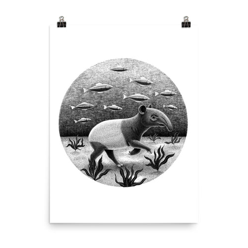 Tapirs Can Swim Underwater | Illustration | Poster-posters-Eggenland