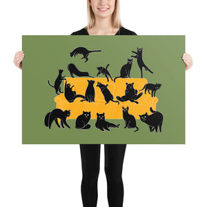 Black Cats Party | Green | Illustration | Poster-posters-24×36-Eggenland