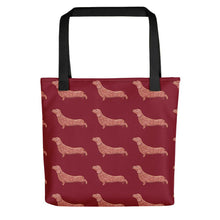 Load image into Gallery viewer, Dachshund Dog Pattern | Red | Tote Bag-tote bags-Black-Eggenland