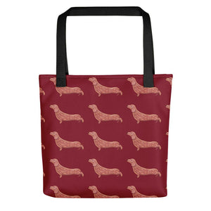 Dachshund Dog Pattern | Red | Tote Bag-tote bags-Black-Eggenland