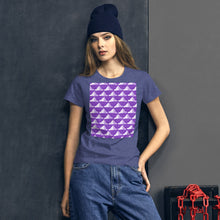 Load image into Gallery viewer, Paper Hats Pattern | Violet | Women's Short-Sleeve T-Shirt-t-shirts-Eggenland