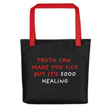 Load image into Gallery viewer, Truth Is Healing | Black | Tote Bag-tote bags-Red-Eggenland