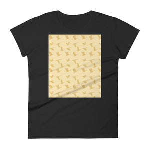 Flying Birds Pattern | Yellow | Women's Short-Sleeve T-Shirt-t-shirts-Black-S-Eggenland
