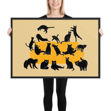 Load image into Gallery viewer, Black Cats Party | Cream | Illustration | Framed Poster-framed posters-Black-24×36-Eggenland