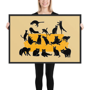 Black Cats Party | Cream | Illustration | Framed Poster-framed posters-Black-24×36-Eggenland