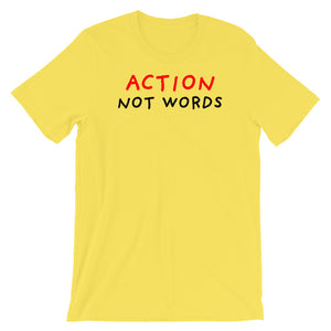 Action Not Words | Short-Sleeve Unisex T-Shirt-t-shirts-Yellow-S-Eggenland