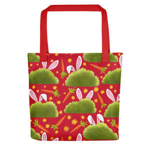 Rabbits and Carrots | Red | Tote Bag-tote bags-Red-Eggenland