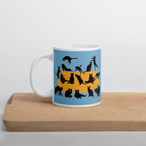 Black Cats Party | Blue | Mug-mugs-11oz-Eggenland