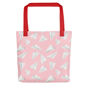 Paper Planes Pattern | Pink and White | Tote Bag-tote bags-Red-Eggenland