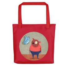 Load image into Gallery viewer, Bear and Butterfly | Red | Tote Bag-tote bags-Red-Eggenland