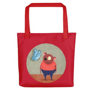 Bear and Butterfly | Red | Tote Bag-tote bags-Red-Eggenland