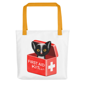 First Aid Kitten | White | Tote Bag-tote bags-Yellow-Eggenland