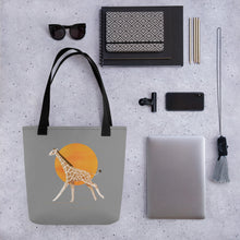 Load image into Gallery viewer, Giraffe and Sun | Grey | Tote Bag-tote bags-Eggenland