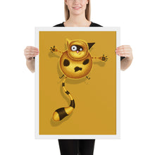 Load image into Gallery viewer, Fat Cat | Illustration | Golden | Framed Posters-framed posters-White-18×24-Eggenland