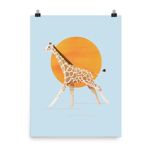 Giraffe and Sun | Blue | Poster-posters-Eggenland