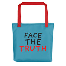 Load image into Gallery viewer, Face the Truth | Blue | Tote Bag-tote bags-Red-Eggenland