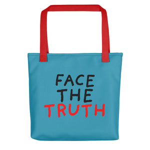 Face the Truth | Blue | Tote Bag-tote bags-Red-Eggenland