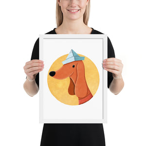 Dog With Newspaper Hat | Illustration | Framed Poster-framed posters-White-12×16-Eggenland