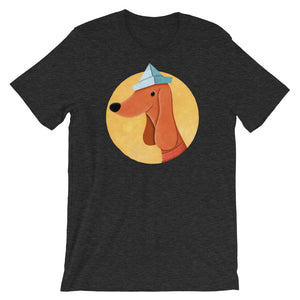 Dog With Newspaper Hat | Short-Sleeve Unisex T-Shirt-t-shirts-Dark Grey Heather-S-Eggenland
