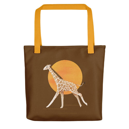 Giraffe and Sun | Brown | Tote Bag-tote bags-Yellow-Eggenland