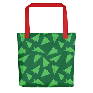 Paper Planes Pattern | Green | Tote Bag-tote bags-Red-Eggenland