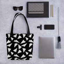Load image into Gallery viewer, Paper Planes Pattern | Black and White | Tote Bag-tote bags-Eggenland