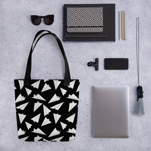 Paper Planes Pattern | Black and White | Tote Bag-tote bags-Eggenland