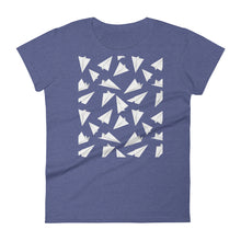 Load image into Gallery viewer, Paper Planes Pattern | Women's Short-Sleeve T-Shirt-t-shirts-Heather Blue-S-Eggenland
